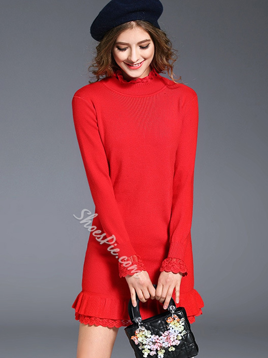 Shoespie Lace Stand Collar Pullover Long Sleeve Bodycon Dress