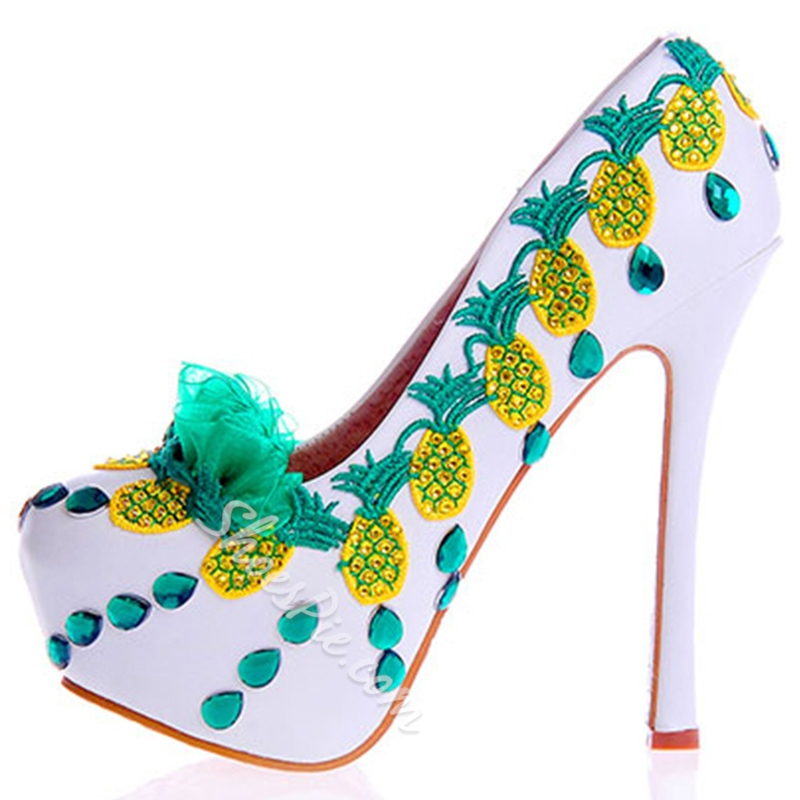 Embroidery Ultra-High Heel Wedding Shoes
