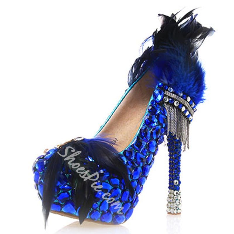Shoespie Blue Feather Appliqued Platform Banquet Bridal Shoes