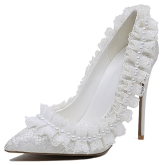 Shoespie White Lace Falbala Trimmed Stiletto Heel Bridal Shoes