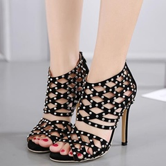 Shoespie Black Rivets Cage Sandals
