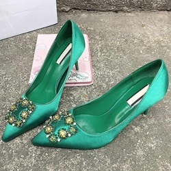 Shoespie Elegant Satin Rhinestone Kitten Heel Pumps