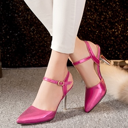 Shoespie Chic Shine Leather Backless Stiletto Heels