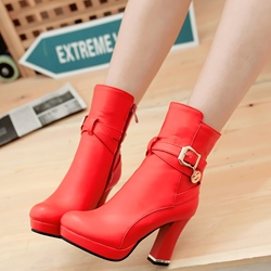 Shoespie Elegant Comfortable Buckle Chunky Heel Fashion Booties
