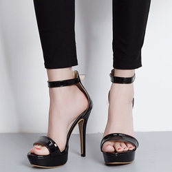 Shoespie Decent Patent Leather Solid Color Sandals