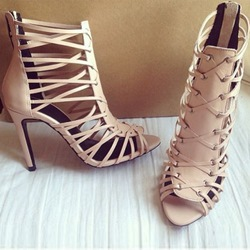 Shoespie Open Toe Zipper Nude Braided Cage Stiletto Heel Sandals