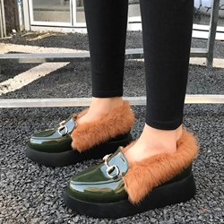 Shoespie Casual Warm Furry Platform Winter Loafers