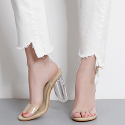 Jelly Line-Style Buckle High Heel Sandals