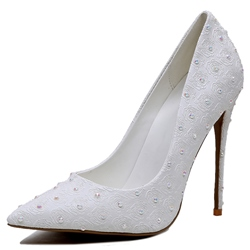 Shoespie White Lace Beaded Stiletto Heel Bridal Shoes