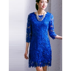 Plain Round Neck Lace Dress
