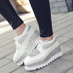 Shoespie Sequined Patchwork Platform Sneskers