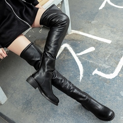 Shoespie Casual Black Round Toe Over the Knee Boots