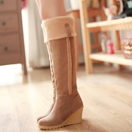 Shoespie Cute Furry Wedge Heel Knee High Boots