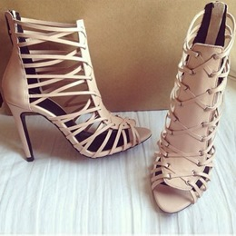 Shoespie Nude Braided Cage Sandals