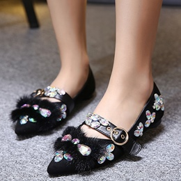 Shoespie Elegant Rhinestone Buckled Loafers