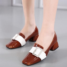 Shoespie Fashion Gaint Buckle Block Heel Loafers