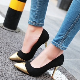 Shoespie Elegatn Metal Cap Toe Stiletto Heels