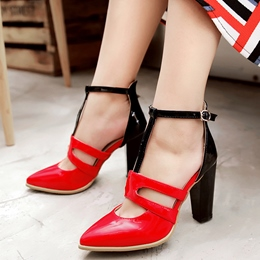 Shoespie Chic Contrast Color Chunky Heel T Strap Pumps