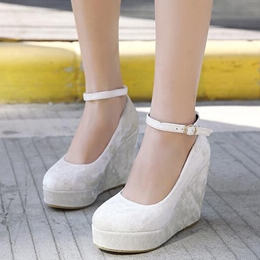 Shoespie Romantic White Round Toe Wedge Bridal Shoes