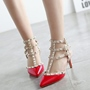 Shoespie Elegant Rivets Kitten Heels