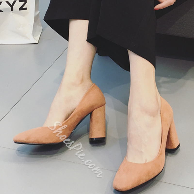 Shoespie Elegant Solid Color Block Heel Pumps Shoespie