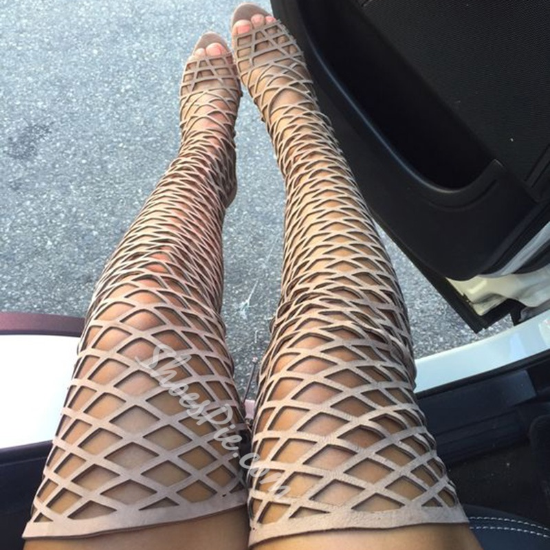 Shoespie Nude Cage Over the Knee Sandal Boots Shoespie