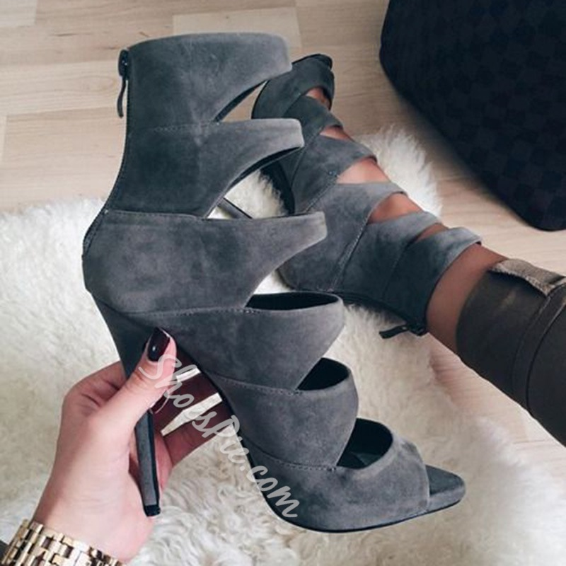 Shoespie Gray Cage Sandals