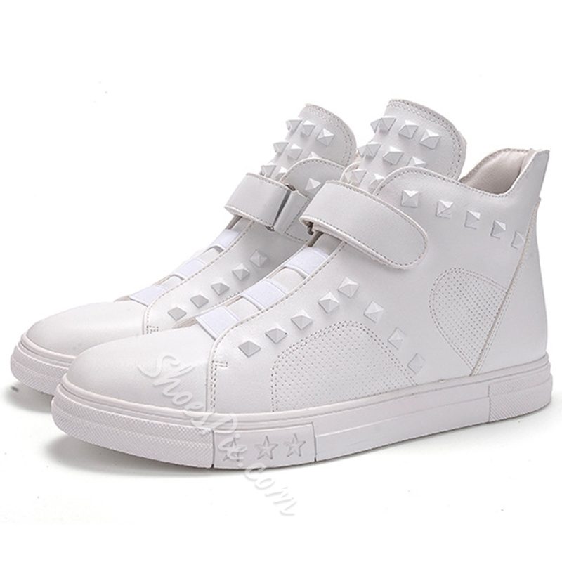 Shoespie Solid Color Rivets and Velcro Men's Fashion Sneakers