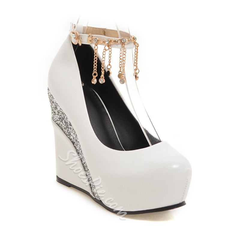 Shoespie Chic Patchwork Jewelled Fringe Wedge Heels