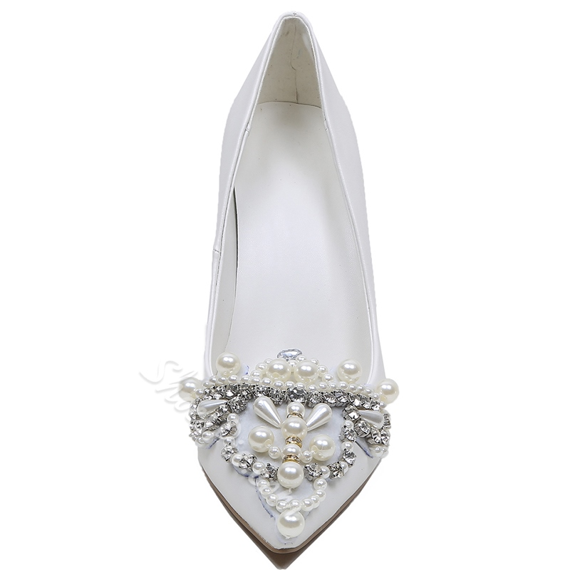 Shoespie White Rhinestone Cap Toe Stiletto Heel Bridal Shoes