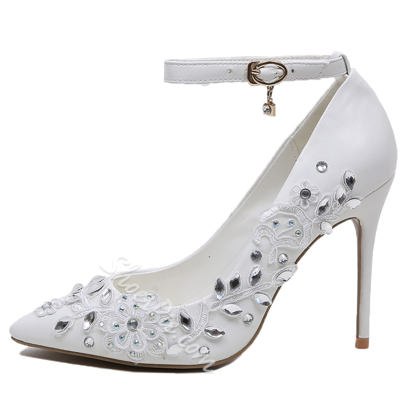 Shoespie White Floral Rhinestone Ankle Wrap Stiletto Heel Bridal Shoes
