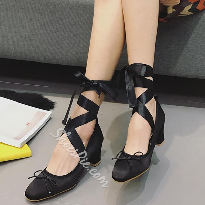 Shoespie Sweet Knot Ribbon Lace Up Chunky Heel Ballet Pumps