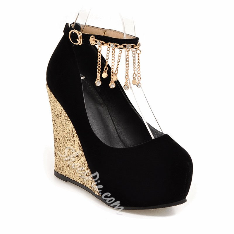 Shoespie Classy Patchwork Jewelled Fringe Wedge Heels