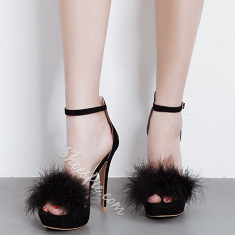 Shoespie Cute Fur Decorated Sandals
