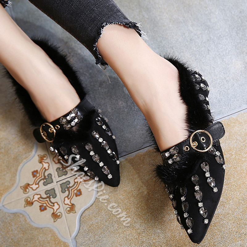Shoespie Chic Rhinestone Appliqued Pointed Toe Loafers