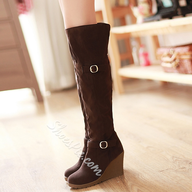 Shoespie Cute Buckle Wedge Heel Knee High Boots