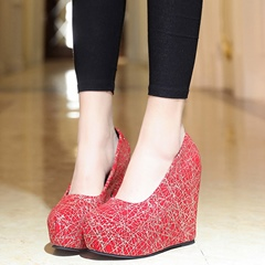 Shoespie Comfortable Print Wedge Heel Pumps