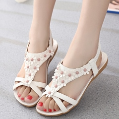 Shoespie Cute Flowers Appliqures Flat Sandals
