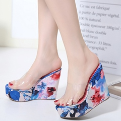 Shoespie PVC Strap Wedge Mules