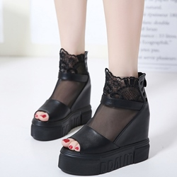 Shoespie Black Gauze Platform Wedge Sandals