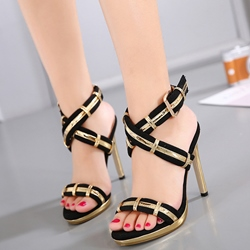 Shoespie Black and Golden Straps Sandals
