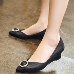 Shoespie Round Circle Appliqued Wedge Heels