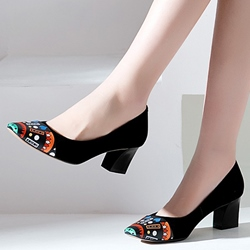 Shoespie Print Cap Toe Chunky Heel Pumps