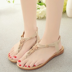 Shoespie Braided Strap Flat Sandals