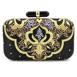 Shoespie Black Exotic Style Banquet Clutch Bag