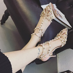 Shoespie Rivets Cutout Sandals
