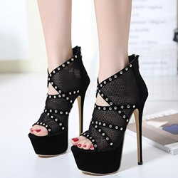 Shoespie Black Mesh Platform Sandals