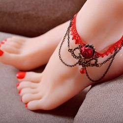 Shoespie Exotic Red Anklet