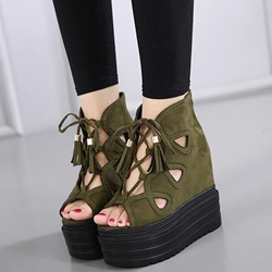 Shoespie Front Lace Up Platform Wedge Sandals