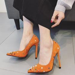 Shoespie Colorful Rivets Pointed Toe Stiletto Heels